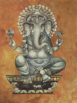 Art-print Wall Art - Painting - Ganesha by Mary jane Miller