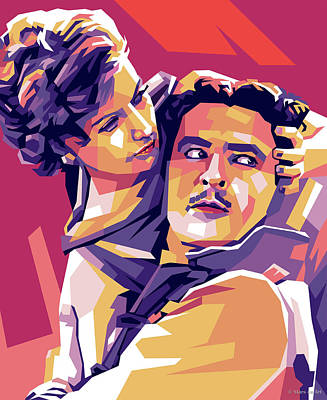 Colorful Button - Greta Garbo and John Gilbert by Stars on Art