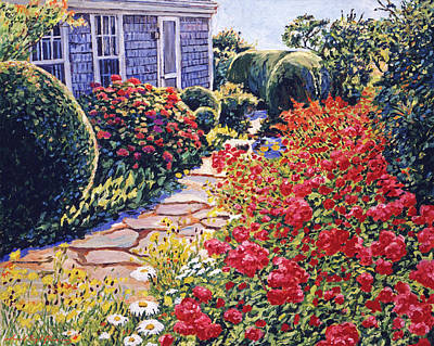 Painting - Garden At The Beach Cottage by David Lloyd Glover