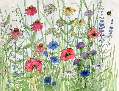 Garden Flower Medley Watercolor Art Print