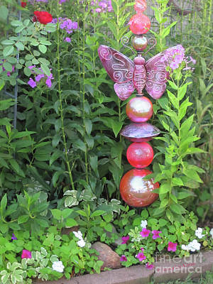 Photograph - Garden Glow With Glass Globes by Nancy Lee Moran