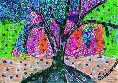 Drawing - Garden Of Earthly Delights by Susan Schanerman