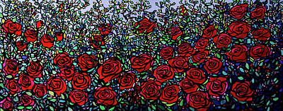 Wall Art - Painting - Garden Of Roses by Alison Newth
