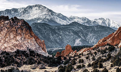 Landscapes Royalty-Free and Rights-Managed Images - Garden of the Gods and Pikes Peak Mountain Landscape by Gregory Ballos