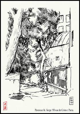 Drawing - Garden Of The Parroisse St Serge, Paris by Javier Gonzalez de Castejon