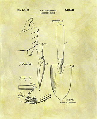 Drawing - Garden Tool Patent  by Dan Sproul
