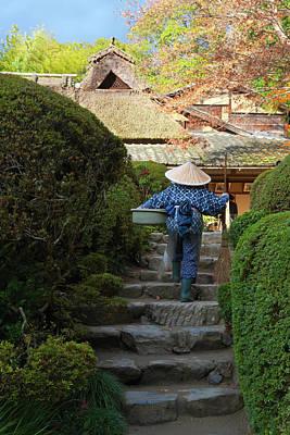 Photograph - Gardener At Shisendo Temple In Kyoto by B. Tanaka