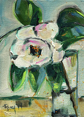 Flower Painting - Gardenia In A Glass by Roxy Rich