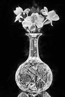 Digital Art - Gardenia Still Life Black And White by JC Findley