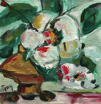 Contemporary Painting - Gardenias In A Bronze Vase by Roxy Rich