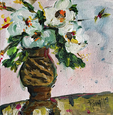 Contemporary Painting - Gardenias In A Zebra Vase by Roxy Rich