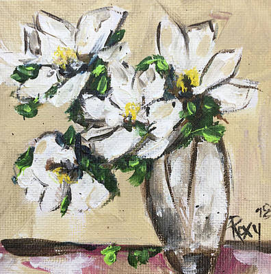 Contemporary Painting - Gardenias by Roxy Rich