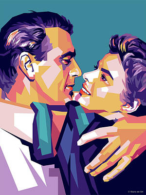 Colorful Button - Gary Cooper and Ingrid Bergman by Stars on Art