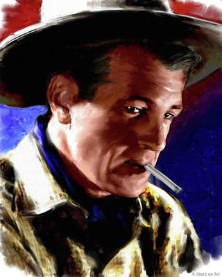 Black And White Horse Photography - Gary Cooper painting by Stars on Art