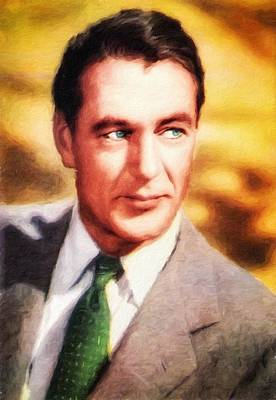 Painting - Gary Cooper, Portrait by Vincent Monozlay