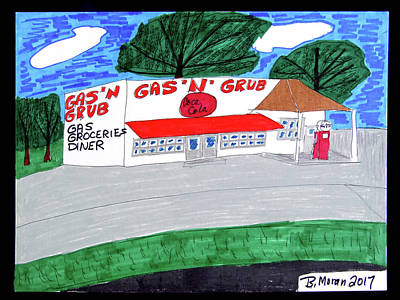 Drawing - Gas-n-grub by Barb Moran