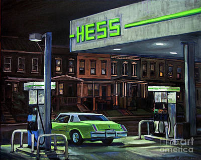 Painting - Gas Station At Night by Christopher Buoscio