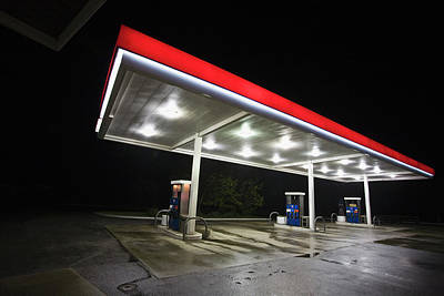 Gasoline Wall Art - Photograph - Gas Station At Night by Henri Silberman