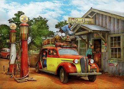 Photograph - Gas Station - Fresh Delivery To Pie Town 1940 by Mike Savad