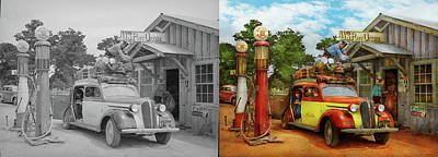 Photograph - Gas Station - Fresh Delivery To Pie Town 1940 - Side By Side by Mike Savad
