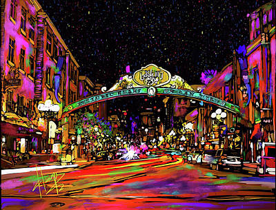 Painting - Gaslamp, San Diego by DC Langer