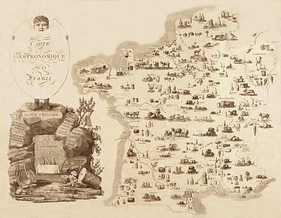 Photograph - Gastronomic Map Of France 1809 by Andrew Fare