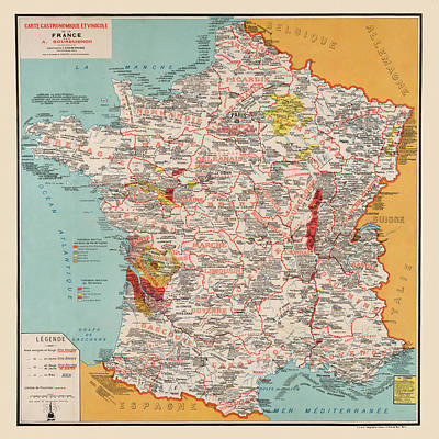 Photograph - Gastronomy Map Of France 1932 by Andrew Fare