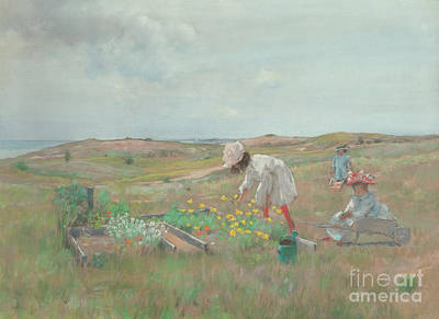 Painting - Gathering Flowers, Shinnecock, Long Island, 1897 by William Merritt Chase