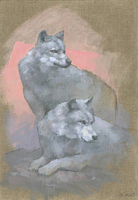 Painting - Gaze Of The Grey Wolves by Steve Mitchell