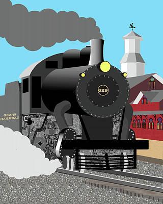 Transportation Digital Art - Gears RR Steam Train by Jeffrey Kontur