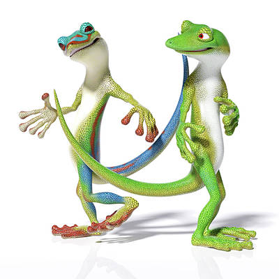 Reptiles Royalty-Free and Rights-Managed Images - Gecko Friends by Betsy Knapp