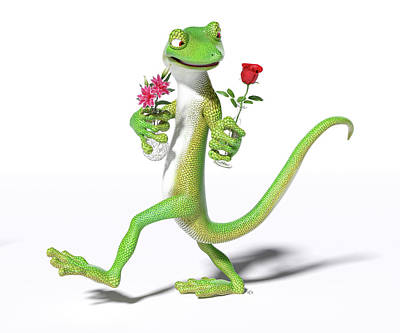 Lilies Digital Art - Gecko in Love by Betsy Knapp