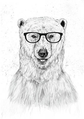 Polar Wall Art - Drawing - Geek Bear by Balazs Solti