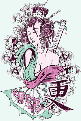 Painting - Geisha Mint Green And Pink by Designious and Matthias Hauser
