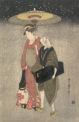 Relief - Geisha Walking Through The Snow At Night by Kitagawa Utamaro