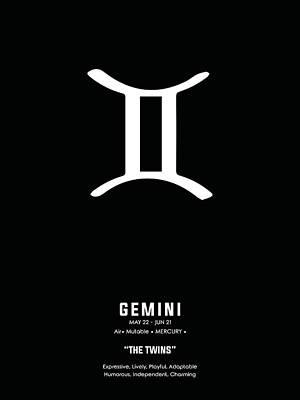Mixed Media Royalty Free Images - Gemini Print 2 - Zodiac Sign Print - Zodiac Poster - Gemini Poster - Black and White - Gemini Traits Royalty-Free Image by Studio Grafiikka