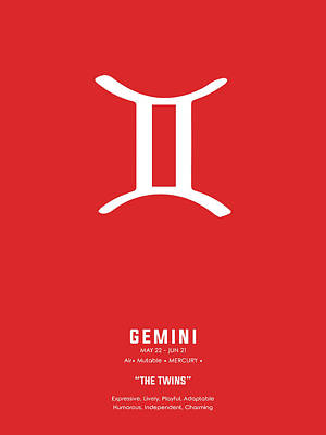 Royalty-Free and Rights-Managed Images - Gemini Print - Zodiac Signs Print - Zodiac Posters - Gemini Poster - Red and White - Gemini Traits by Studio Grafiikka