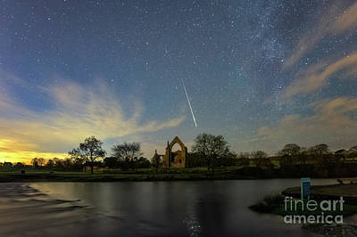 Photograph - Geminid Meteor Caught In Bolton Abbey On 3rd December 2018 by Mariusz Talarek
