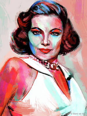 Train Paintings Rights Managed Images - Gene Tierney Royalty-Free Image by Stars on Art