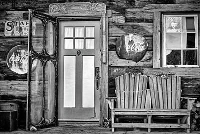 Photograph - General Store Entrance Bw by Susan Candelario