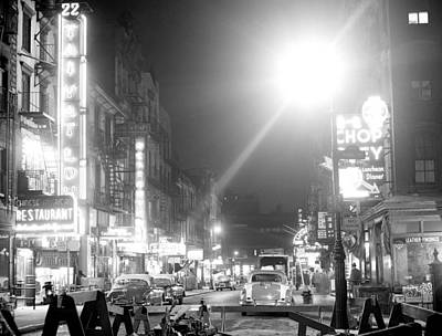 General Photograph - General View Of Mott Street At Night by New York Daily News Archive