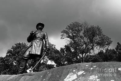 Photograph - General Warren Surveys The Scene Gettysburg by James Brunker