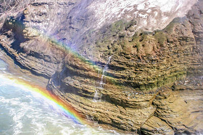 Aira Force Wall Art - Photograph - Genesee River With Rocks And Rainbow by Chic Gallery Prints From Karen Szatkowski