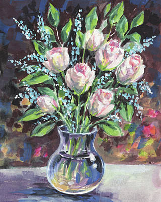 Painting - Gentle Pink Roses Bouquet Floral Impressionism  by Irina Sztukowski