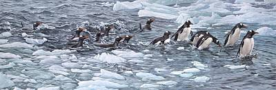 Animals Paintings - Gentoo Penguins by Alan M Hunt by Alan M Hunt