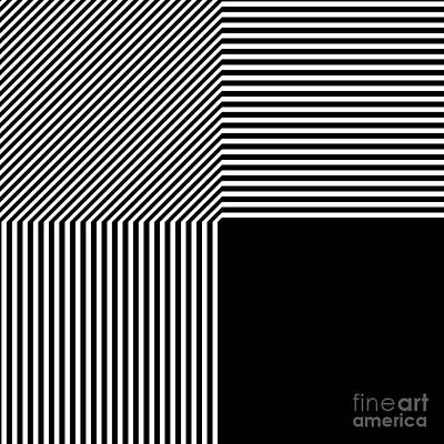 Drawing - Geometric Abstract Black And White Stripes Square by Aapshop