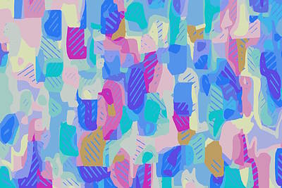 Lucille Ball - Geometric Abstract In Blue And Pink by Tim LA