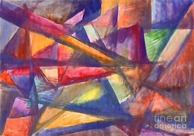 Painting - Geometric Abstract Painting. Multicolored Rays. by Irina Dobrotsvet