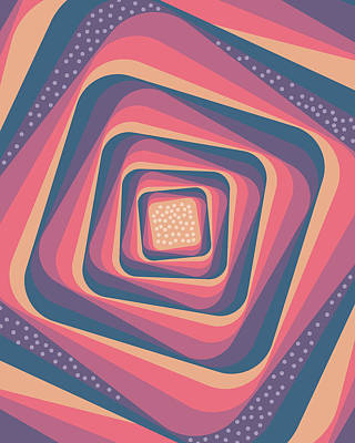 Mixed Media - Geometric Abstract Pattern - Retro Pattern - Spiral 2 - Deep Blue, Purple, Magenta, Red by Studio Grafiikka