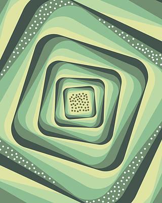 Mixed Media - Geometric Abstract Pattern - Retro Pattern - Spiral 3 - Grey, Cream, Teal, Slate by Studio Grafiikka